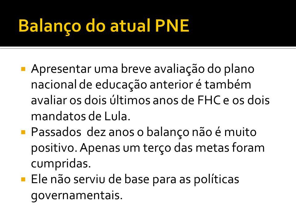  Apresentar uma breve avaliação do plano nacional de educação anterior é também avaliar os dois últimos anos de FHC e os dois mandatos de Lula.