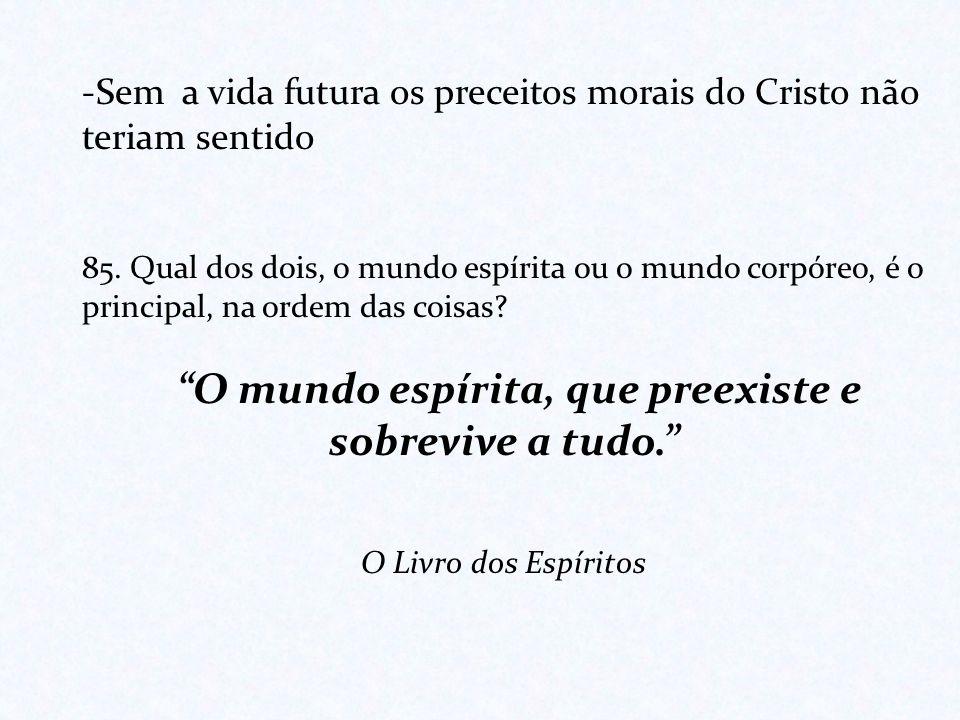 -Sem a vida futura os preceitos morais do Cristo não teriam sentido 85. Qual dos dois, o mundo espírita ou o mundo corpóreo, é o principal, na ordem d