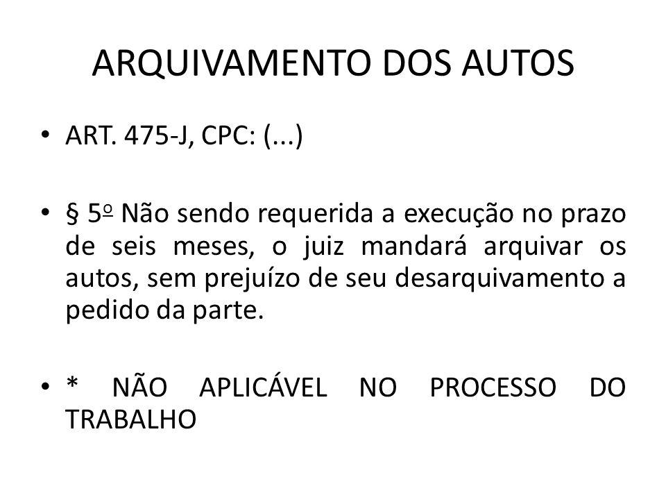 ARQUIVAMENTO DOS AUTOS ART.