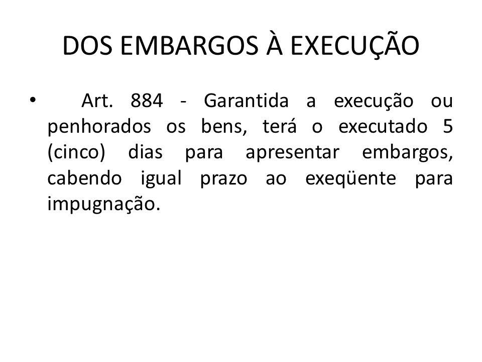 DOS EMBARGOS À EXECUÇÃO Art.