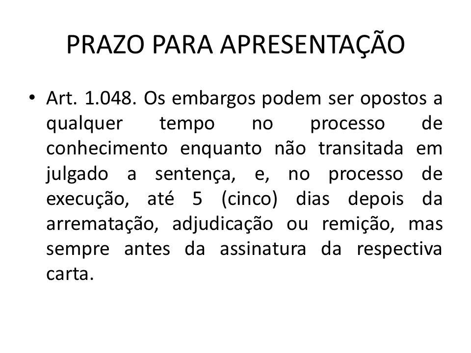 PRAZO PARA APRESENTAÇÃO Art.1.048.