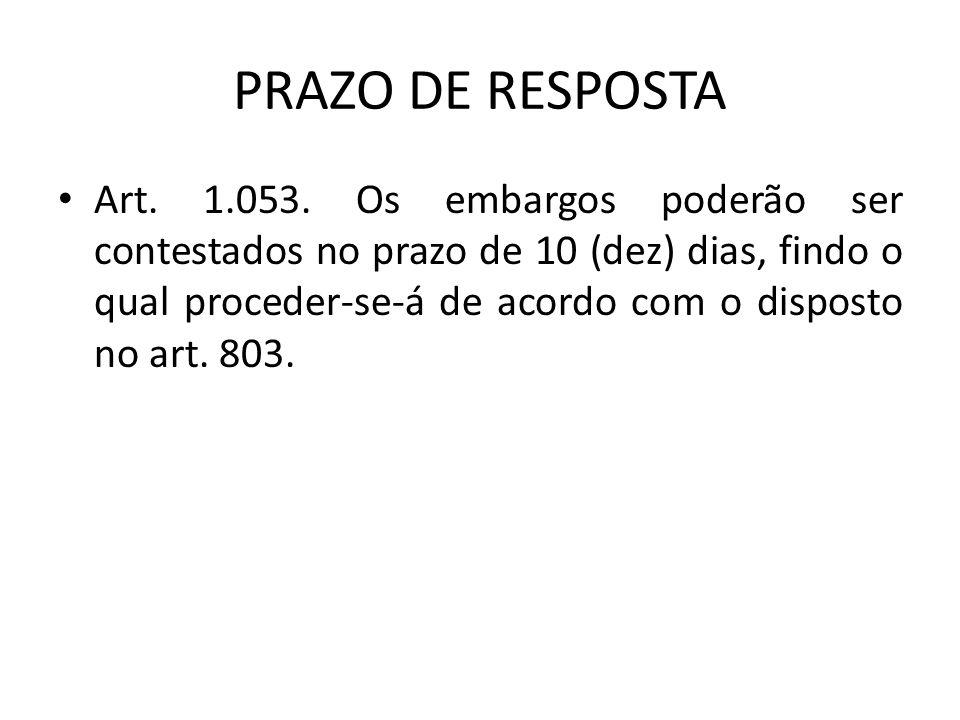 PRAZO DE RESPOSTA Art.1.053.