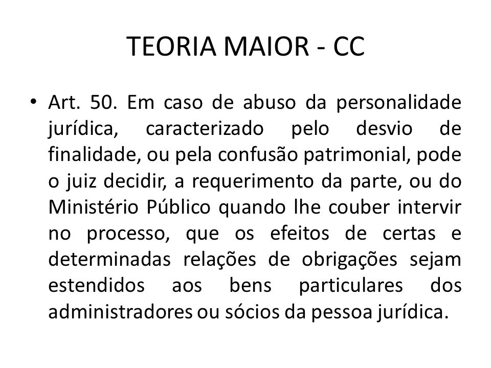 TEORIA MAIOR - CC Art.50.