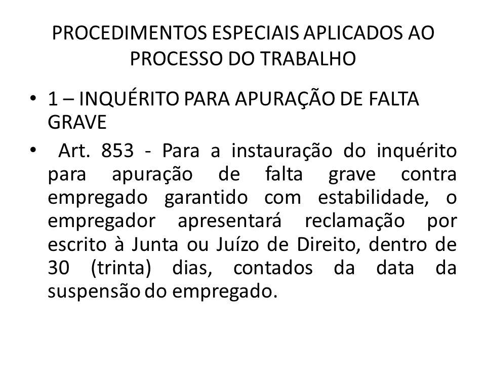 PROCEDIMENTOS ESPECIAIS APLICADOS AO PROCESSO DO TRABALHO 1 – INQUÉRITO PARA APURAÇÃO DE FALTA GRAVE Art.