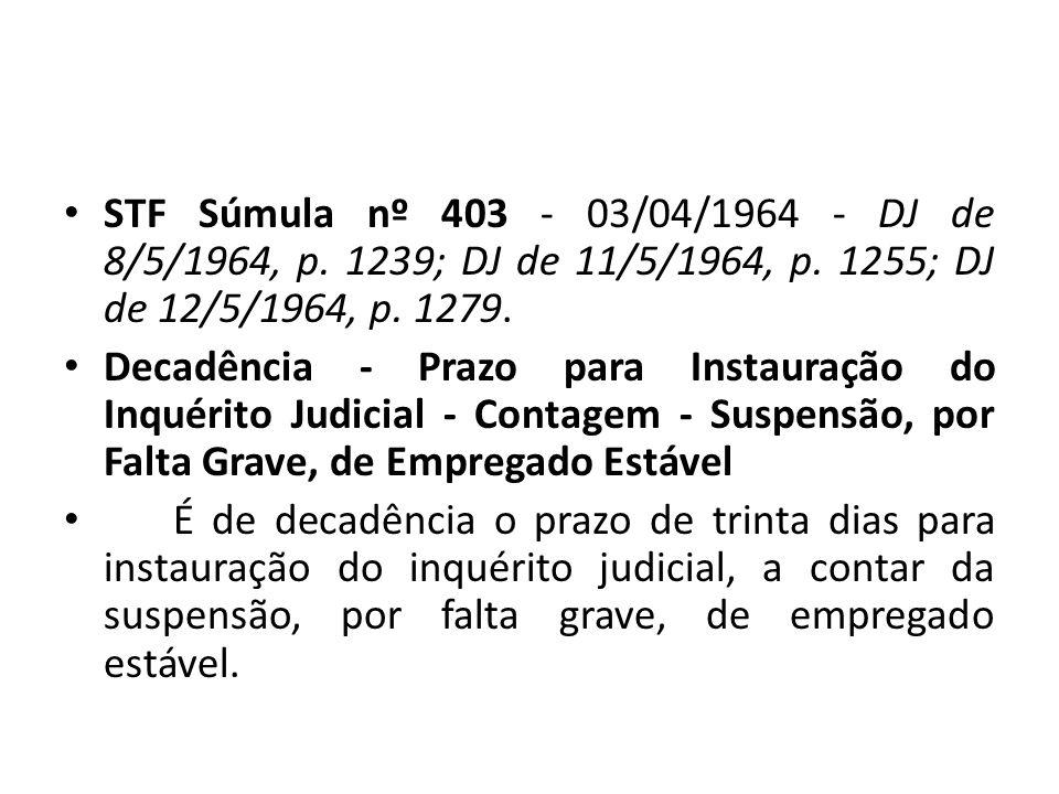 STF Súmula nº 403 - 03/04/1964 - DJ de 8/5/1964, p.