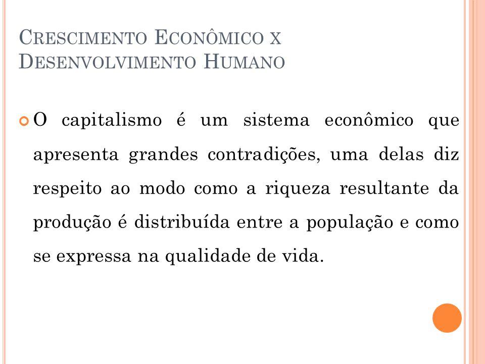 C RESCIMENTO E CONÔMICO X D ESENVOLVIMENTO H UMANO O capitalismo é um sistema econômico que apresenta grandes contradições, uma delas diz respeito ao modo como a riqueza resultante da produção é distribuída entre a população e como se expressa na qualidade de vida.