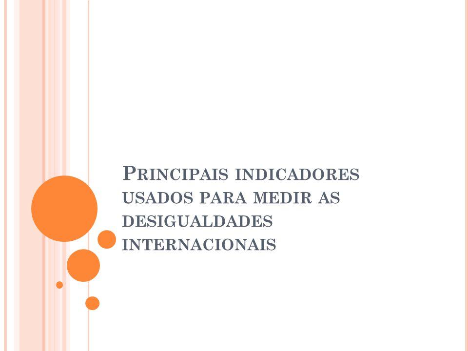 P RINCIPAIS INDICADORES USADOS PARA MEDIR AS DESIGUALDADES INTERNACIONAIS