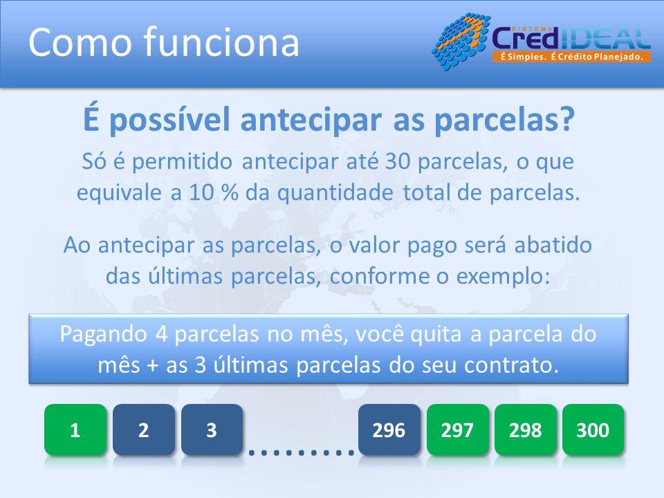 Só é permitido antecipar até 30 parcelas, o que equivale a 10 % da quantidade total de parcelas.