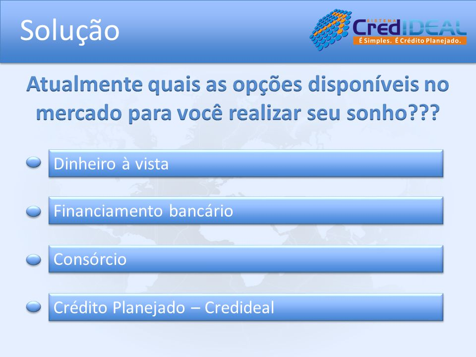 Solução Dinheiro à vista Financiamento bancário Consórcio Crédito Planejado – Credideal