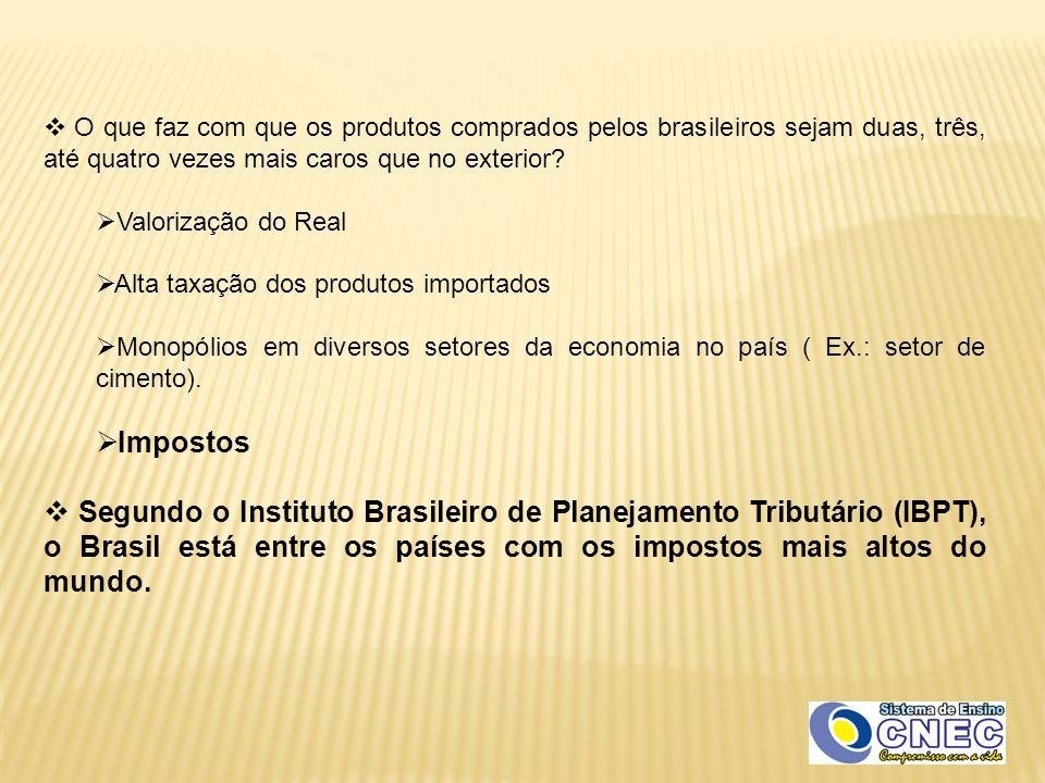  O que faz com que os produtos comprados pelos brasileiros sejam duas, três, até quatro vezes mais caros que no exterior?  Valorização do Real  Alt