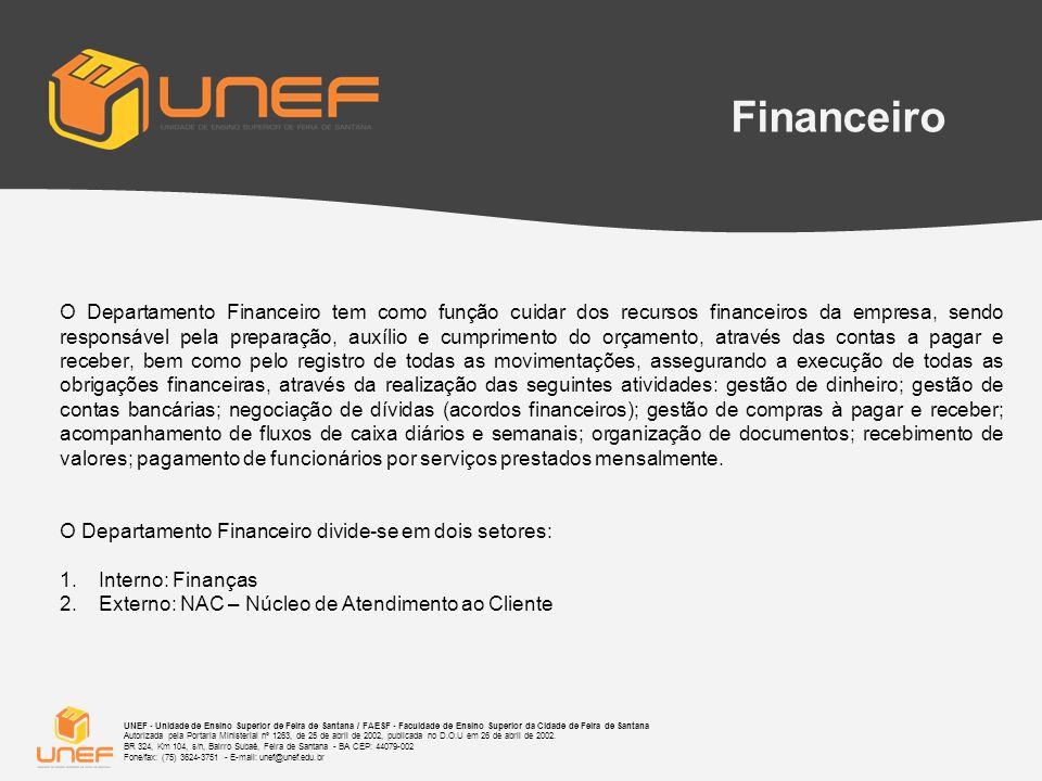 Financeiro DEPARTAMENTO FINANCEIRO SETOR EXTERNO NAC LIQUIDAÇÃO DE MENSALIDADE; RECEBIMENTO DE VALORES DE DÉBITOS ANTIGOS E ATUAIS; EMISSÃO DE NOTAS; RECEBIMENTO DE VALORES POR DOCUMENTOS SOLICITADO´S SETOR INTERNO REALIZA TODAS AS ATIVIDADES DO DEPARTAMENTO FINANCEIRO