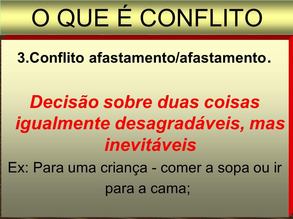 2. Conflito afastamento/aproximação Decisão sobre algo que envolve aspectos positivos, mas também negativos Ex: Fazer uma viagem, mas ficar sem dinhei