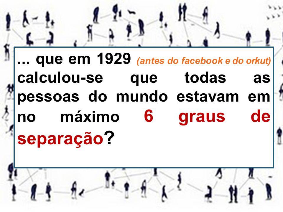 ... que em 1929 (antes do facebook e do orkut) calculou-se que todas as pessoas do mundo estavam em no máximo 6 graus de separação ?