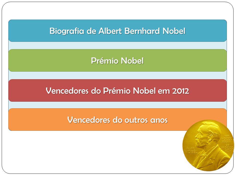 Biografia de Albert Bernhard Nobel Biografia de Albert Bernhard Nobel Prémio Nobel Prémio Nobel Vencedores do Prémio Nobel em 2012 Vencedores do Prémio Nobel em 2012 Vencedores do outros anos Vencedores do outros anos