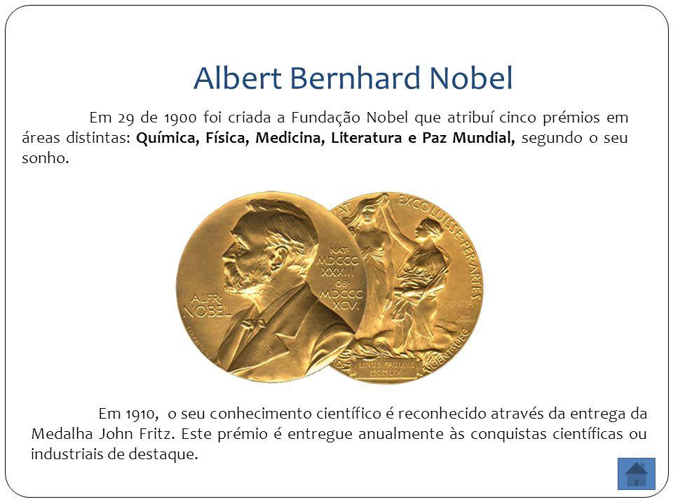 Albert Bernhard Nobel Em 29 de 1900 foi criada a Fundação Nobel que atribuí cinco prémios em áreas distintas: Química, Física, Medicina, Literatura e Paz Mundial, segundo o seu sonho.