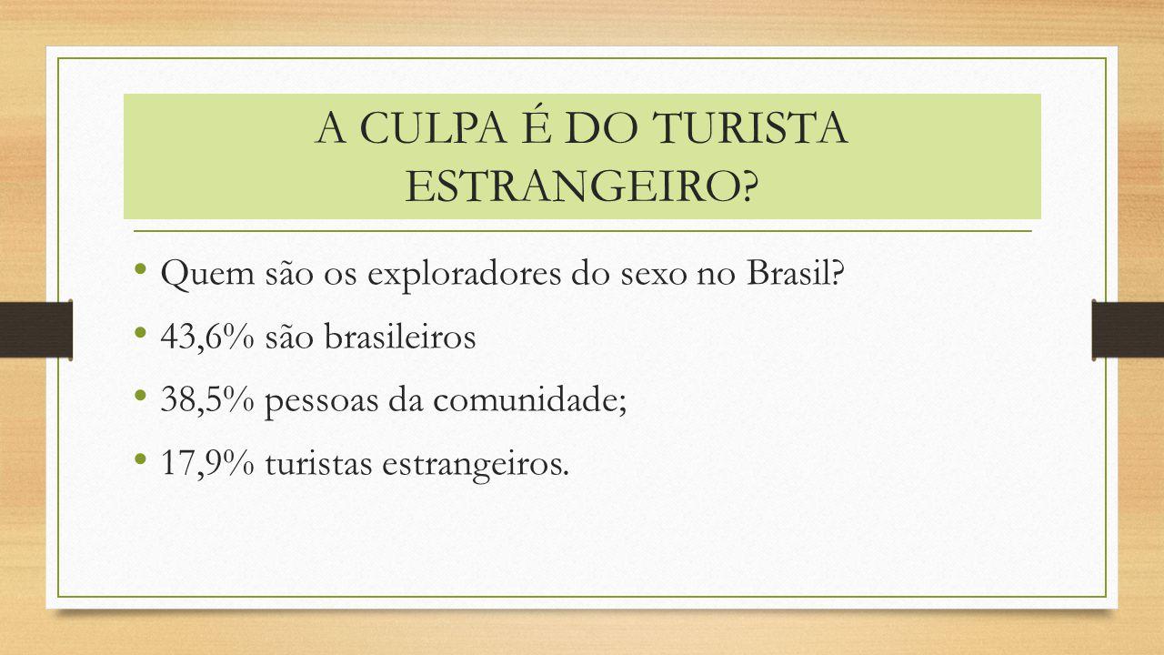 A CULPA É DO TURISTA ESTRANGEIRO? Quem são os exploradores do sexo no Brasil? 43,6% são brasileiros 38,5% pessoas da comunidade; 17,9% turistas estran