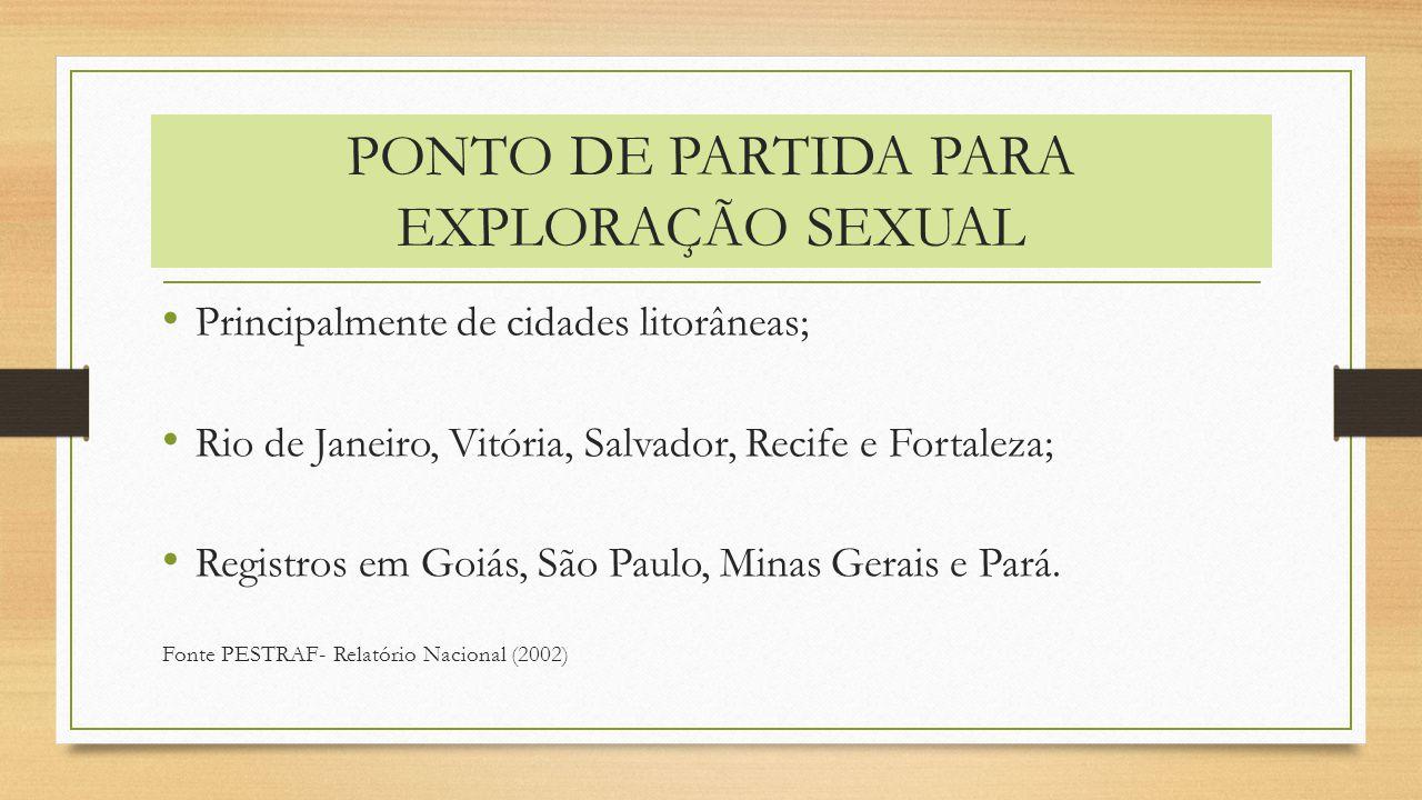 PONTO DE PARTIDA PARA EXPLORAÇÃO SEXUAL Principalmente de cidades litorâneas; Rio de Janeiro, Vitória, Salvador, Recife e Fortaleza; Registros em Goiá