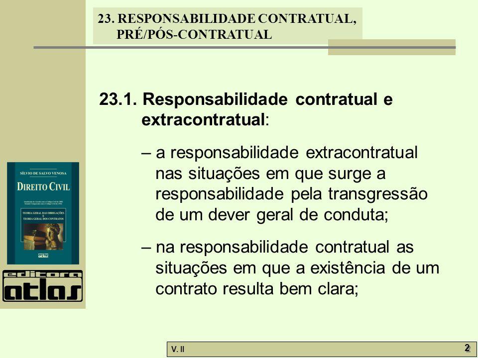 V. II 2 2 23. RESPONSABILIDADE CONTRATUAL, PRÉ/PÓS-CONTRATUAL 23.1. Responsabilidade contratual e extracontratual: – a responsabilidade extracontratua