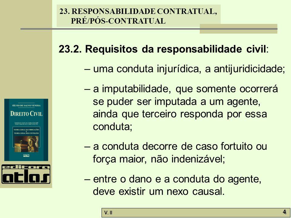 V. II 4 4 23. RESPONSABILIDADE CONTRATUAL, PRÉ/PÓS-CONTRATUAL 23.2. Requisitos da responsabilidade civil: – uma conduta injurídica, a antijuridicidade
