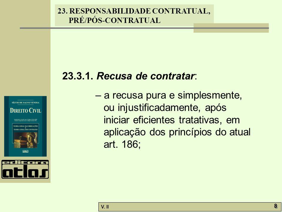 V. II 8 8 23. RESPONSABILIDADE CONTRATUAL, PRÉ/PÓS-CONTRATUAL 23.3.1. Recusa de contratar: – a recusa pura e simplesmente, ou injustificadamente, após