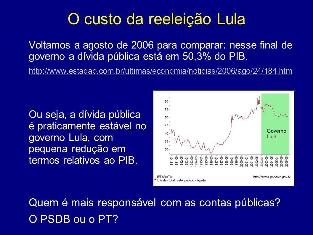 O custo da reeleição Lula Voltamos a agosto de 2006 para comparar: nesse final de governo a dívida pública está em 50,3% do PIB. http://www.estadao.co