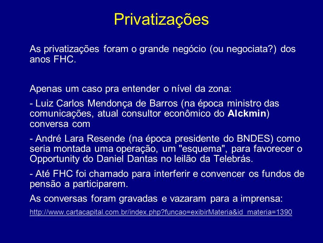 Privatizações As privatizações foram o grande negócio (ou negociata?) dos anos FHC. Apenas um caso pra entender o nível da zona: - Luiz Carlos Mendonç