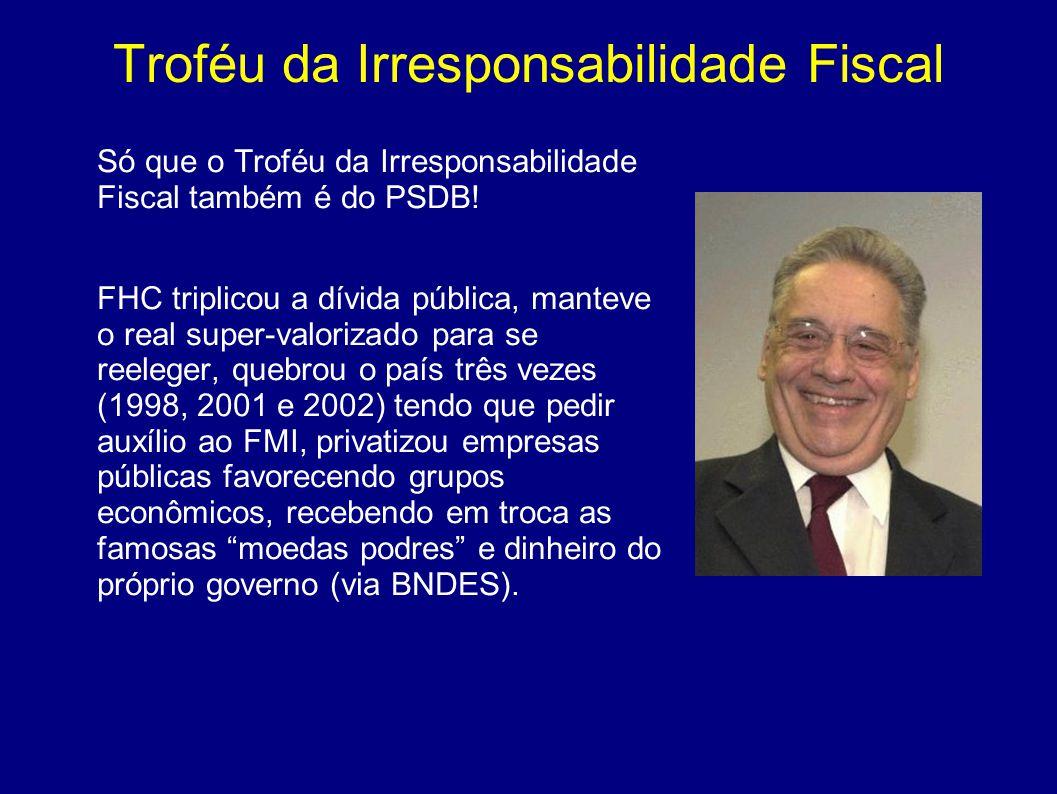 Troféu da Irresponsabilidade Fiscal Só que o Troféu da Irresponsabilidade Fiscal também é do PSDB! FHC triplicou a dívida pública, manteve o real supe