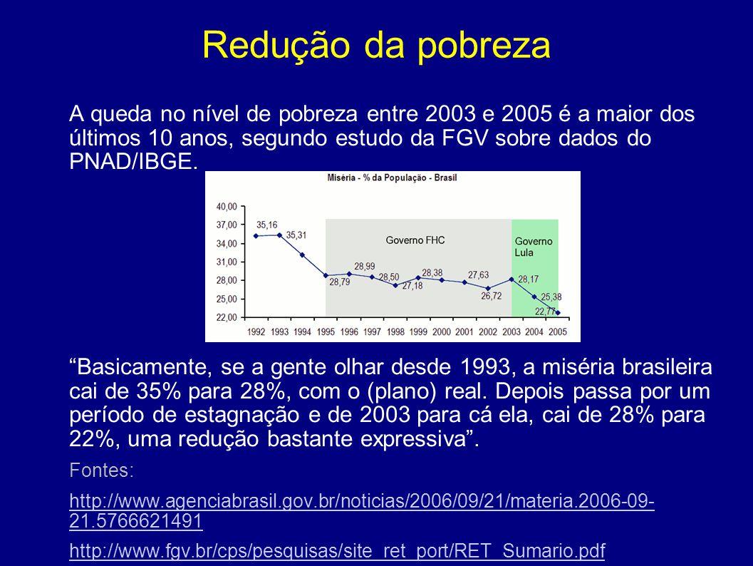 """Redução da pobreza A queda no nível de pobreza entre 2003 e 2005 é a maior dos últimos 10 anos, segundo estudo da FGV sobre dados do PNAD/IBGE. """"Basic"""