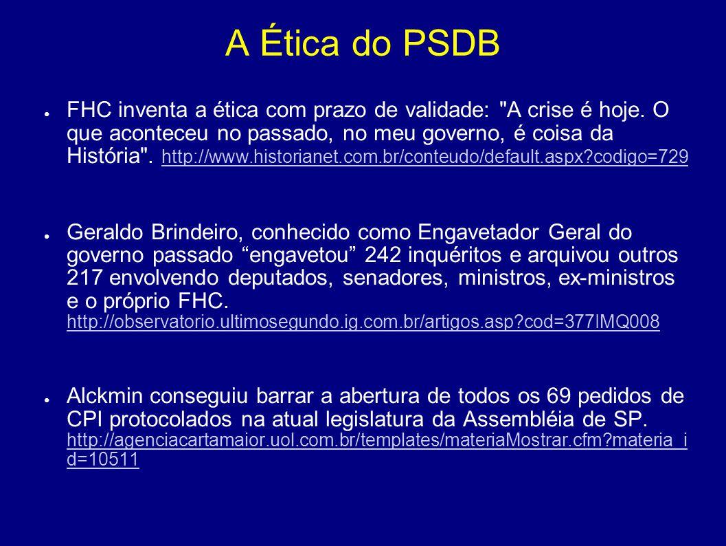 A Ética do PSDB O senador Arthur Virgilio do PSDB, atual paladino anti-caixa 2, admitiu em entrevista ao JB em 2000: fui obrigado a fazer caixa 2 na campanha para o governo do Amazonas .