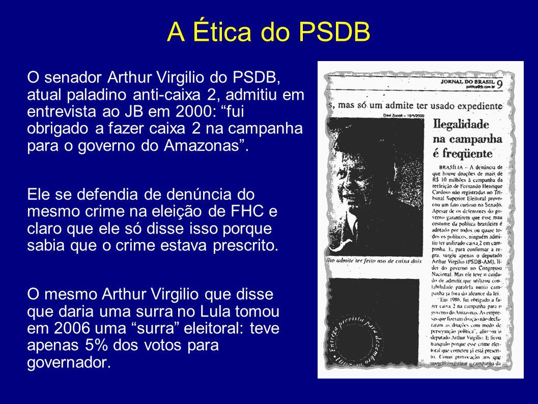 """A Ética do PSDB O senador Arthur Virgilio do PSDB, atual paladino anti-caixa 2, admitiu em entrevista ao JB em 2000: """"fui obrigado a fazer caixa 2 na"""