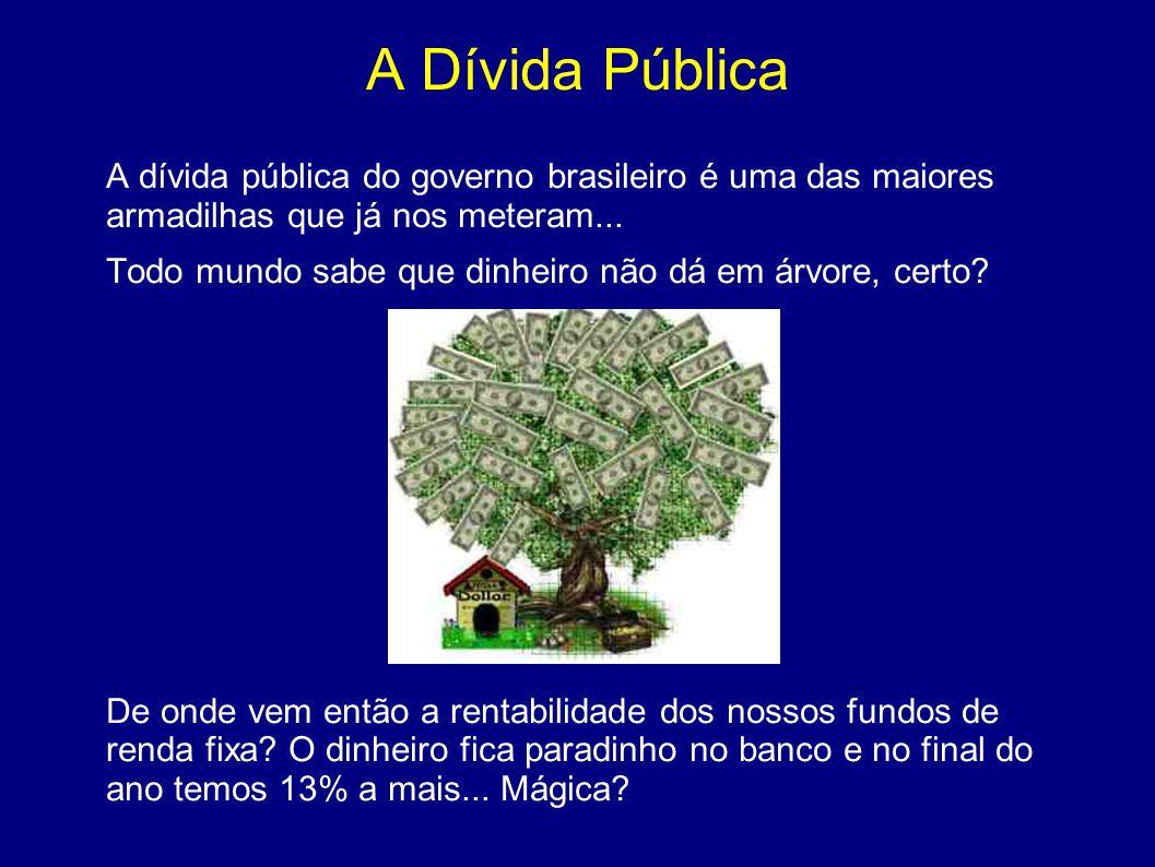 A Dívida Pública A dívida pública do governo brasileiro é uma das maiores armadilhas que já nos meteram... Todo mundo sabe que dinheiro não dá em árvo