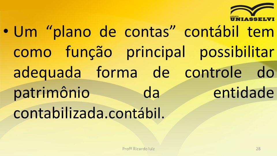 """Um """"plano de contas"""" contábil tem como função principal possibilitar adequada forma de controle do patrimônio da entidade contabilizada. contábil. Pro"""
