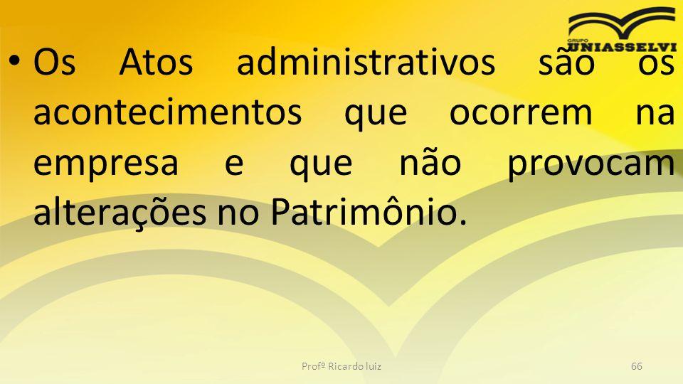Os Atos administrativos são os acontecimentos que ocorrem na empresa e que não provocam alterações no Patrimônio. Profº Ricardo luiz66