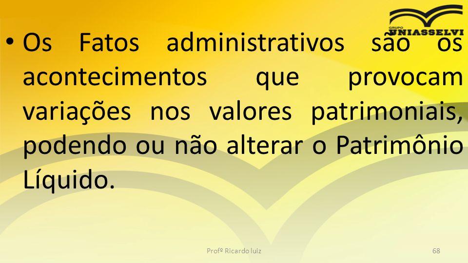 Os Fatos administrativos são os acontecimentos que provocam variações nos valores patrimoniais, podendo ou não alterar o Patrimônio Líquido. Profº Ric