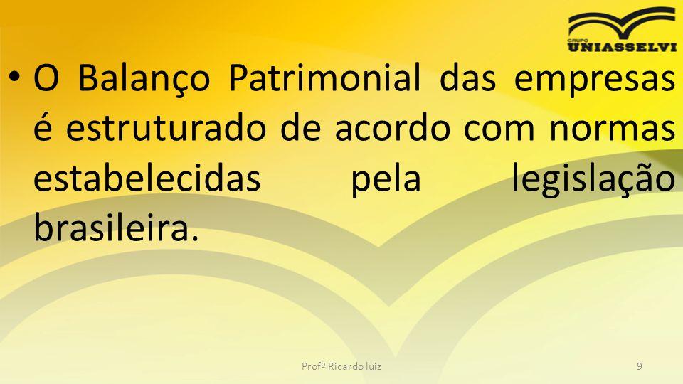 O Balanço Patrimonial das empresas é estruturado de acordo com normas estabelecidas pela legislação brasileira. Profº Ricardo luiz9