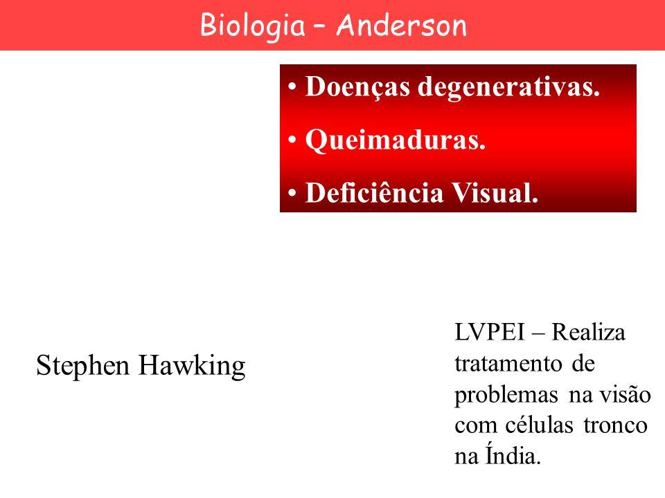 Stephen Hawking Doenças degenerativas. Queimaduras. Deficiência Visual. LVPEI – Realiza tratamento de problemas na visão com células tronco na Índia.