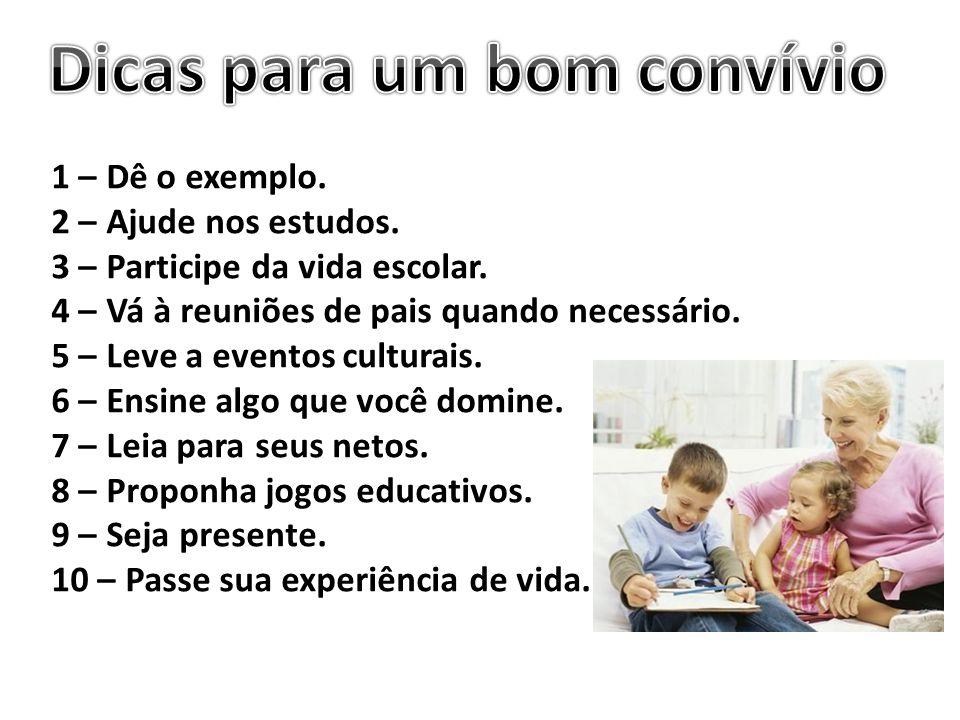 1 – Dê o exemplo. 2 – Ajude nos estudos. 3 – Participe da vida escolar. 4 – Vá à reuniões de pais quando necessário. 5 – Leve a eventos culturais. 6 –