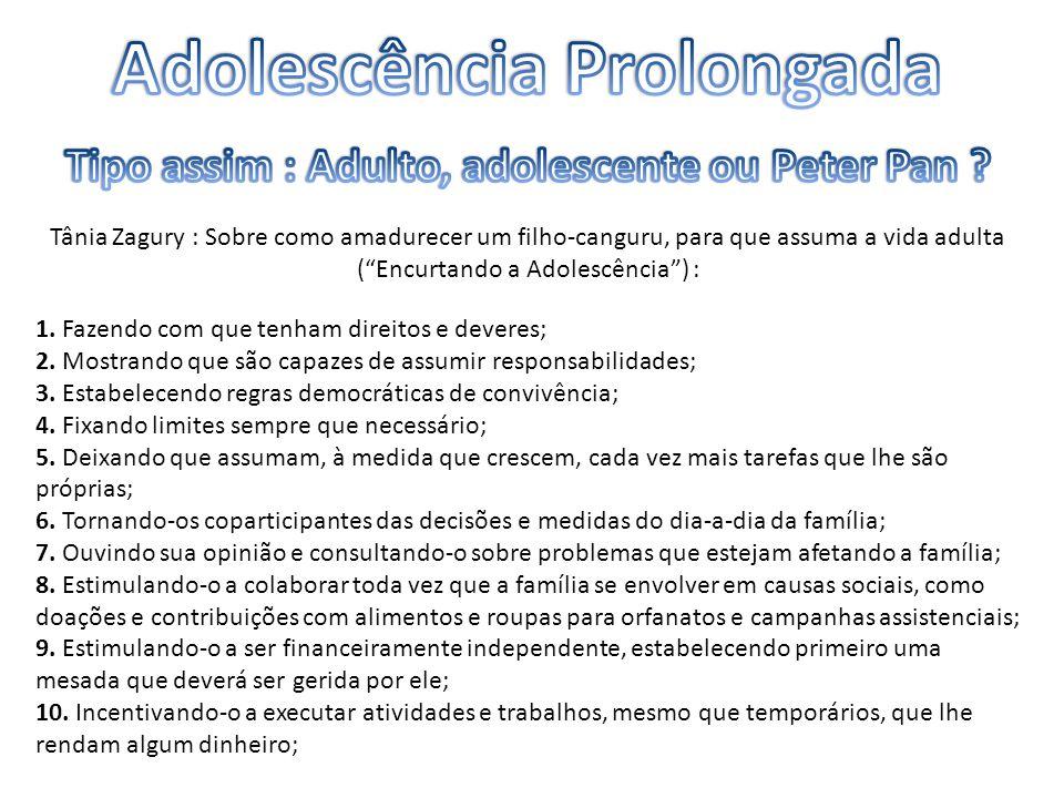 """Tânia Zagury : Sobre como amadurecer um filho-canguru, para que assuma a vida adulta (""""Encurtando a Adolescência"""") : 1. Fazendo com que tenham direito"""