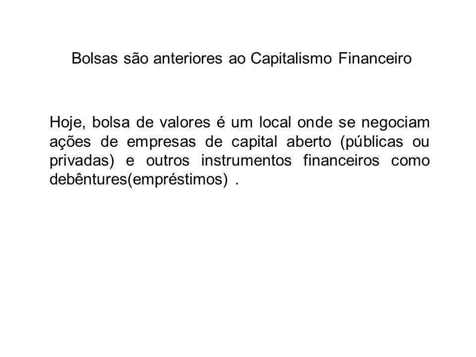 Bolsas são anteriores ao Capitalismo Financeiro Hoje, bolsa de valores é um local onde se negociam ações de empresas de capital aberto (públicas ou pr