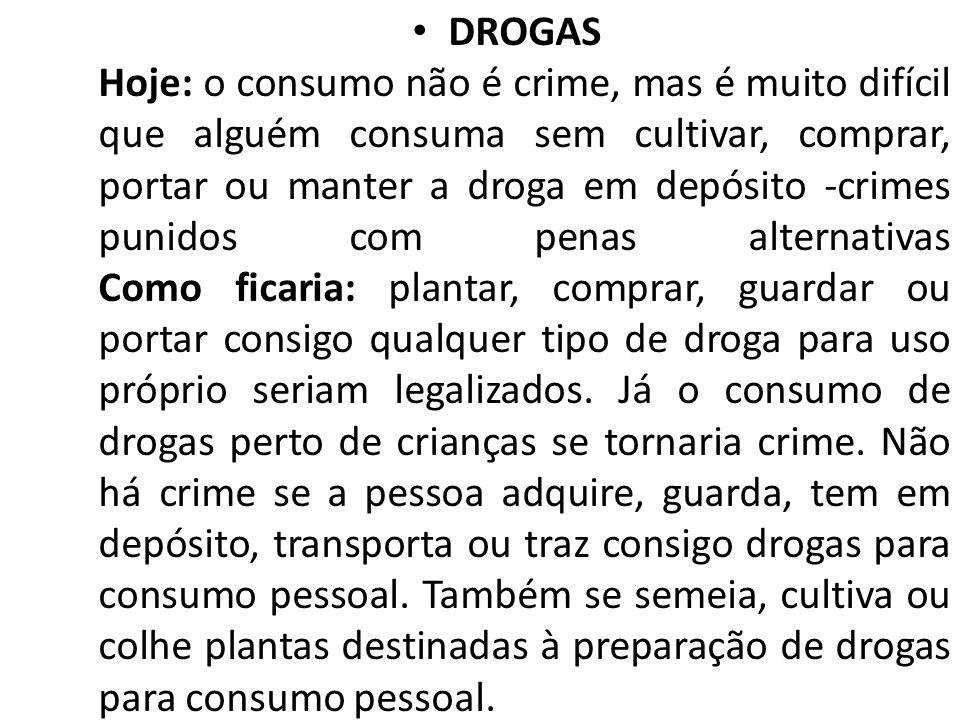 DROGAS Hoje: o consumo não é crime, mas é muito difícil que alguém consuma sem cultivar, comprar, portar ou manter a droga em depósito -crimes punidos