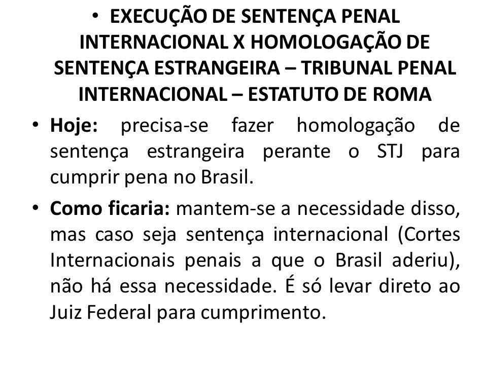 EXECUÇÃO DE SENTENÇA PENAL INTERNACIONAL X HOMOLOGAÇÃO DE SENTENÇA ESTRANGEIRA – TRIBUNAL PENAL INTERNACIONAL – ESTATUTO DE ROMA Hoje: precisa-se faze