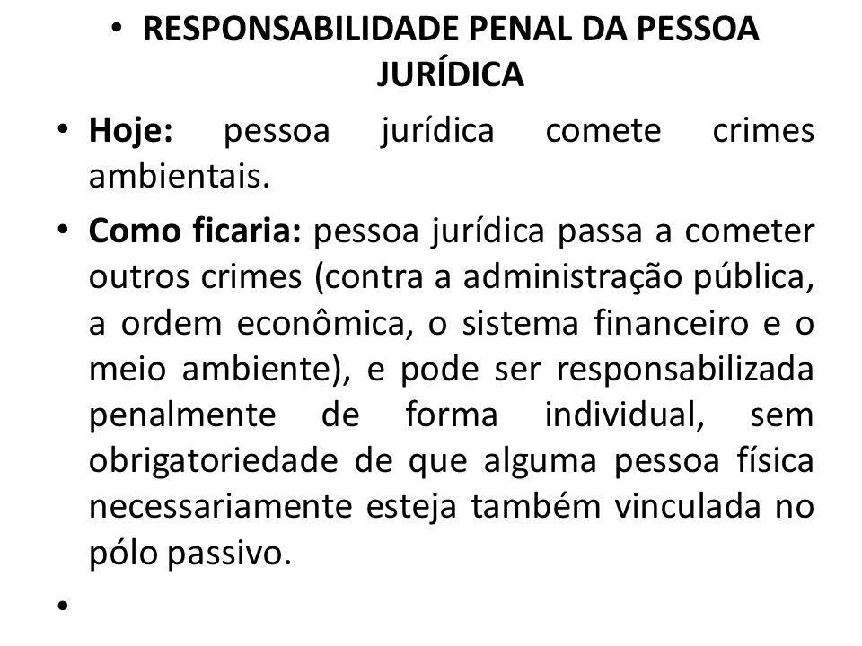 RESPONSABILIDADE PENAL DA PESSOA JURÍDICA Hoje: pessoa jurídica comete crimes ambientais. Como ficaria: pessoa jurídica passa a cometer outros crimes