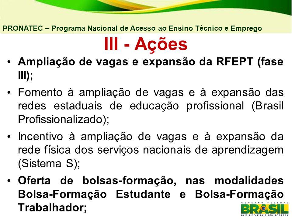 PRONATEC – Programa Nacional de Acesso ao Ensino Técnico e Emprego III - Ações Ampliação de vagas e expansão da RFEPT (fase III); Fomento à ampliação de vagas e à expansão das redes estaduais de educação profissional (Brasil Profissionalizado); Incentivo à ampliação de vagas e à expansão da rede física dos serviços nacionais de aprendizagem (Sistema S); Oferta de bolsas-formação, nas modalidades Bolsa-Formação Estudante e Bolsa-Formação Trabalhador;