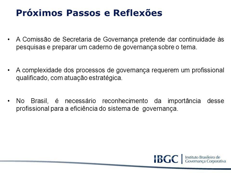 A Comissão de Secretaria de Governança pretende dar continuidade às pesquisas e preparar um caderno de governança sobre o tema. A complexidade dos pro