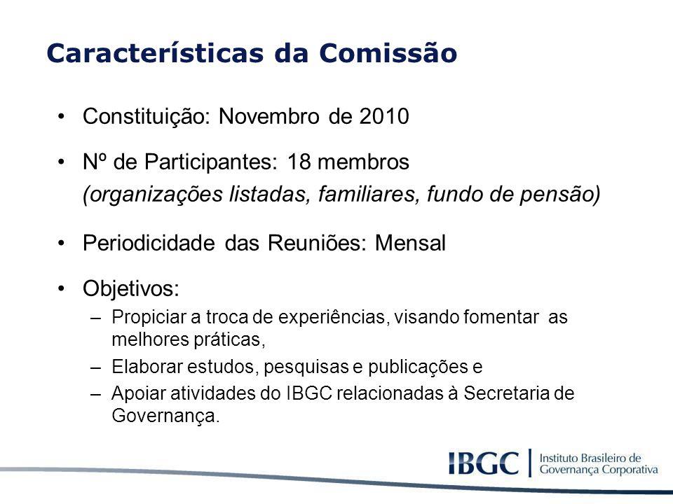 Constituição: Novembro de 2010 Nº de Participantes: 18 membros (organizações listadas, familiares, fundo de pensão) Periodicidade das Reuniões: Mensal