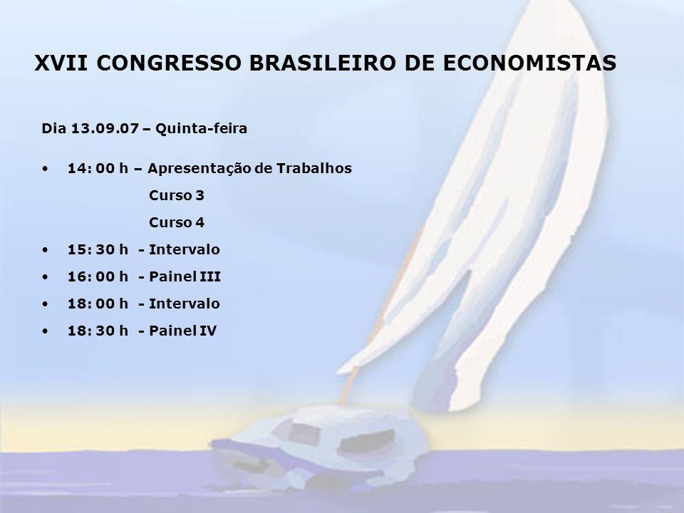 XVII CONGRESSO BRASILEIRO DE ECONOMISTAS Dia 14.09.07 – Sexta-feira 10:00h - Entrega de Certificados 11:00h - Sessão Plenária 12:00h - Encerramento