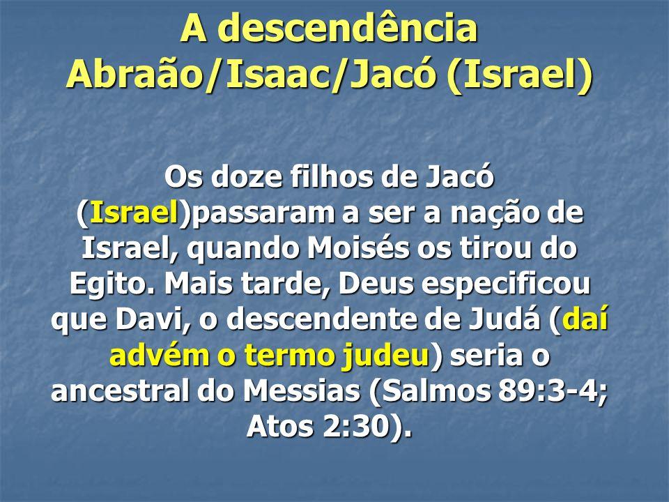A descendência Abraão/Isaac/Jacó (Israel) Os doze filhos de Jacó (Israel)passaram a ser a nação de Israel, quando Moisés os tirou do Egito. Mais tarde