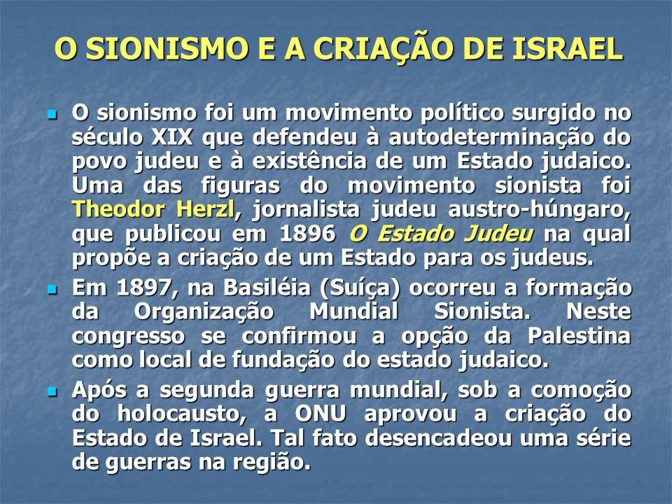 O SIONISMO E A CRIAÇÃO DE ISRAEL O sionismo foi um movimento político surgido no século XIX que defendeu à autodeterminação do povo judeu e à existênc