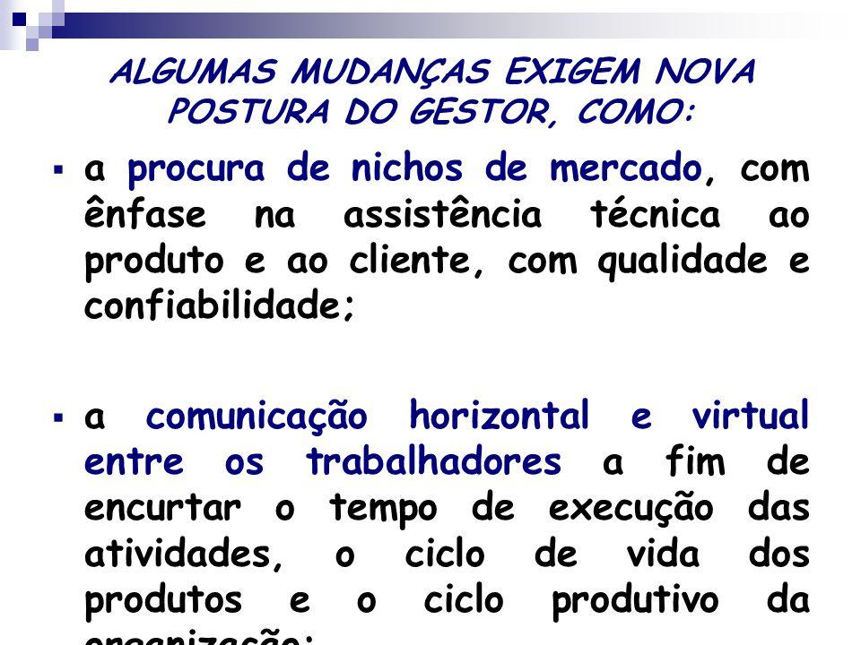 ALGUMAS MUDANÇAS EXIGEM NOVA POSTURA DO GESTOR, COMO:  a procura de nichos de mercado, com ênfase na assistência técnica ao produto e ao cliente, com