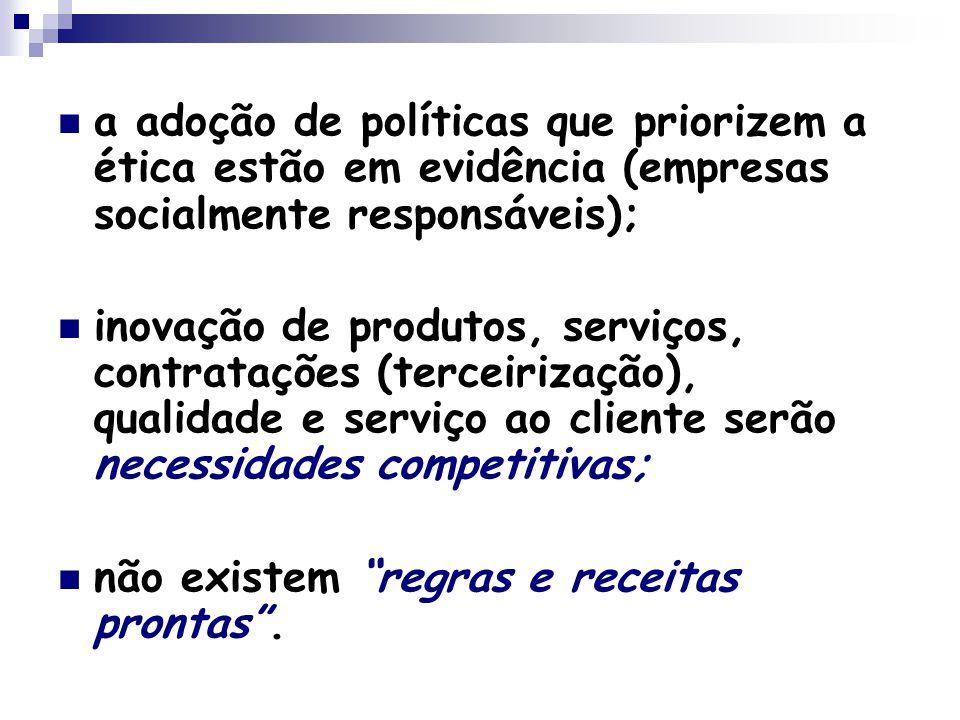 a adoção de políticas que priorizem a ética estão em evidência (empresas socialmente responsáveis); inovação de produtos, serviços, contratações (terceirização), qualidade e serviço ao cliente serão necessidades competitivas; não existem regras e receitas prontas .